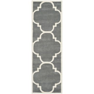 Safavieh Handmade Contemporary Moroccan Dark Grey Wool Rug - 2'3 x 11'