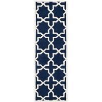 Safavieh Handmade Morocan Dark Blue Star Wool Rug - 2'3 x 9'