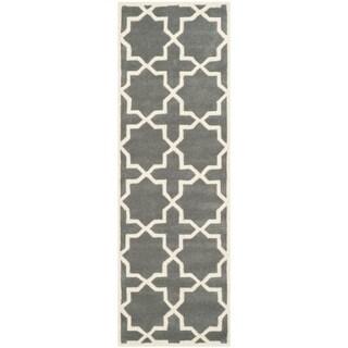 Safavieh Handmade Moroccan Dark Grey Cross Pattern Wool Rug (2'3 x 7')