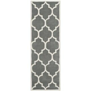 Safavieh Handmade Rectangle Moroccan Dark Grey Wool Rug (2'3 x 11')