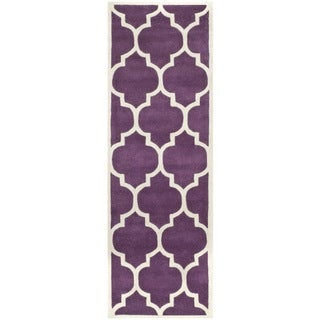 "Safavieh Modern Handmade Moroccan Purple Wool Rug (2'3"" x 7')"