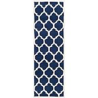 "Safavieh Handmade Moroccan Chatham Dark Blue Wool Rug - 2'3"" x 11'"