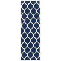 "Safavieh Handmade Moroccan Dark Blue Small Quatrefoil Wool Rug - 2'3"" x 9'"