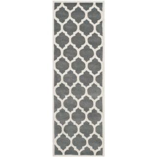 "Safavieh Handmade Moroccan Dark Gray Wool Rug with Cotton Canvas Backing (2'3"" x 9')"