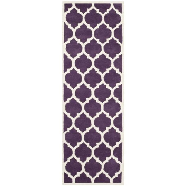 Safavieh Handmade Moroccan Rectangle Purple Wool Rug - 2'3 x 7'