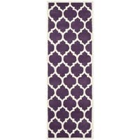 Safavieh Handmade Contemporary Moroccan Geometric Purple Wool Rug - 2'3 x 9'