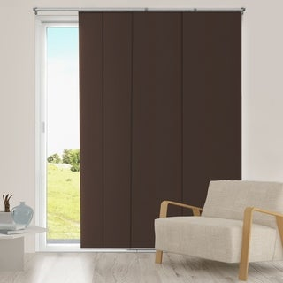 Chicology Adjustable Sliding Panel Cordless Shade Double Rail Track Privacy Fabric 80-inch x 96-inch Mountain Chocolate