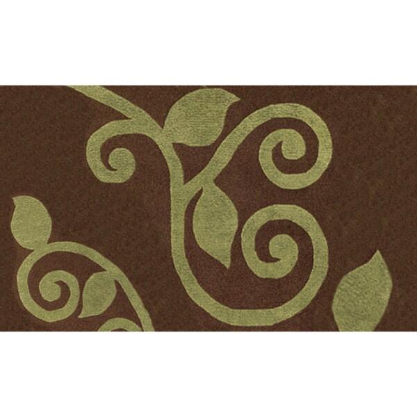 Fogli Brown/ Green Wool Rug (1'4 x 3'0)