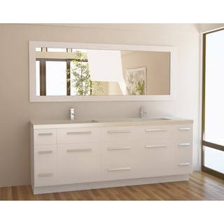 Design Element Moscony 84 Inch Quartz Double Sink Pearl White Bathroom  Vanity