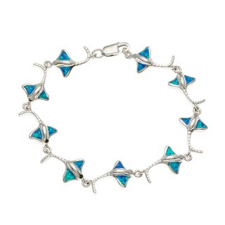 La Preciosa Sterling Silver Blue Opal Stingray Link Bracelet