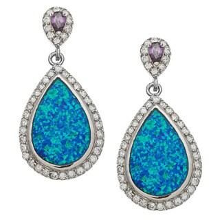La Preciosa Sterling Silver Cubic Zirconia and Blue Opal Pear Earrings