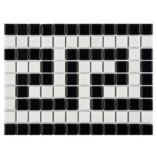 SomerTile 8x10.5-inch Victorian Greek Key Matte White and Black Border Porcelain Mosaic Floor and Wa