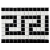 SomerTile 8x10.5-inch Victorian Greek Key Matte White and Black Border Porcelain Mosaic Floor and Wall Tile (10 tiles)