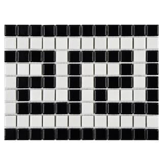 SomerTile 8x10.5-inch Metro Greek Key Matte White and Black Border Porcelain Mosaic Floor and Wall