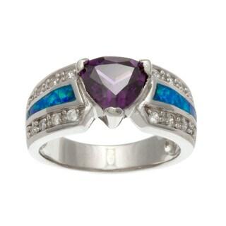 La Preciosa Sterling Silver Purple/ White Cubic Zirconia and Blue Opal Ring