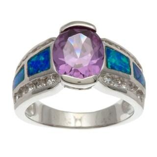 La Preciosa Sterling Silver CZ and Opal Ring