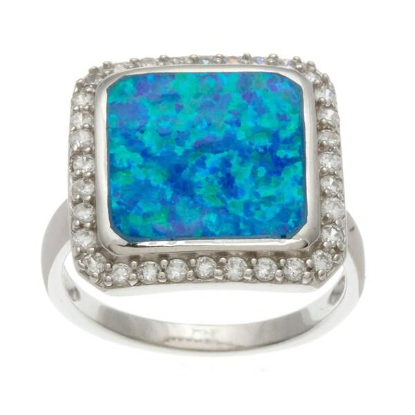 La Preciosa Sterling Silver Cubic Zirconia and Blue Opal Square Ring