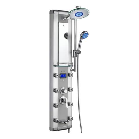 Blue Ocean 52-inch Aluminum Shower Panel Tower LED Rainfall Shower Head - Silver