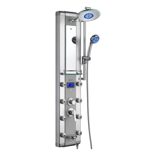 Blue Ocean 52 Inch Aluminum Shower Panel Tower LED Rainfall Shower Head
