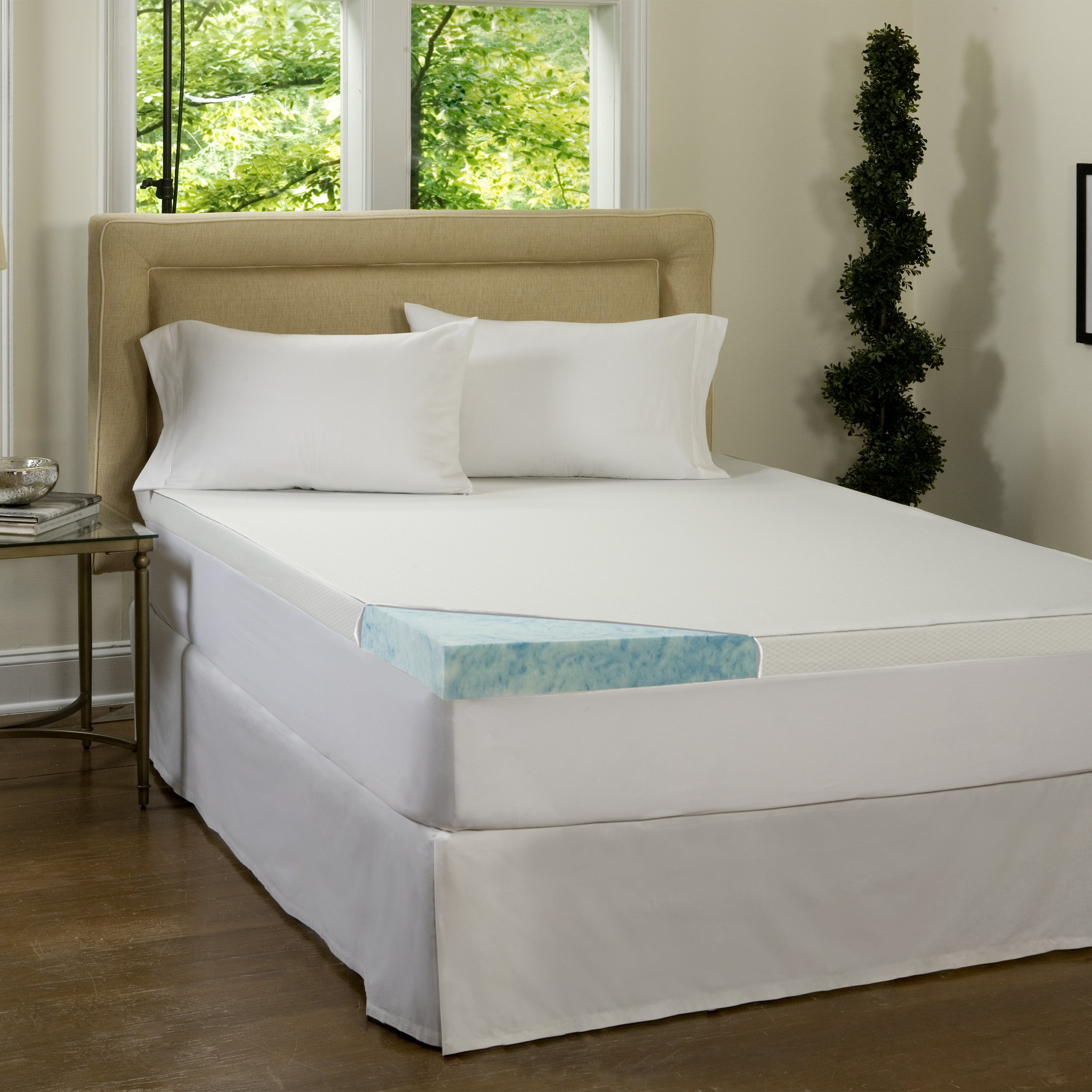 """Luxury 2/""""Thick Small Double Memory Foam Mattress Topper with 2 way Knitted Cover"""