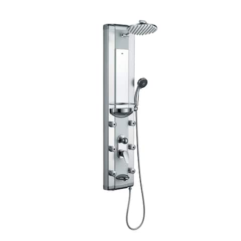 Blue Ocean Aluminum Shower Panel Tower with Rainfall Shower Head, Mist Nozzles, Handheld Shower Head and Tub Spout - Silver