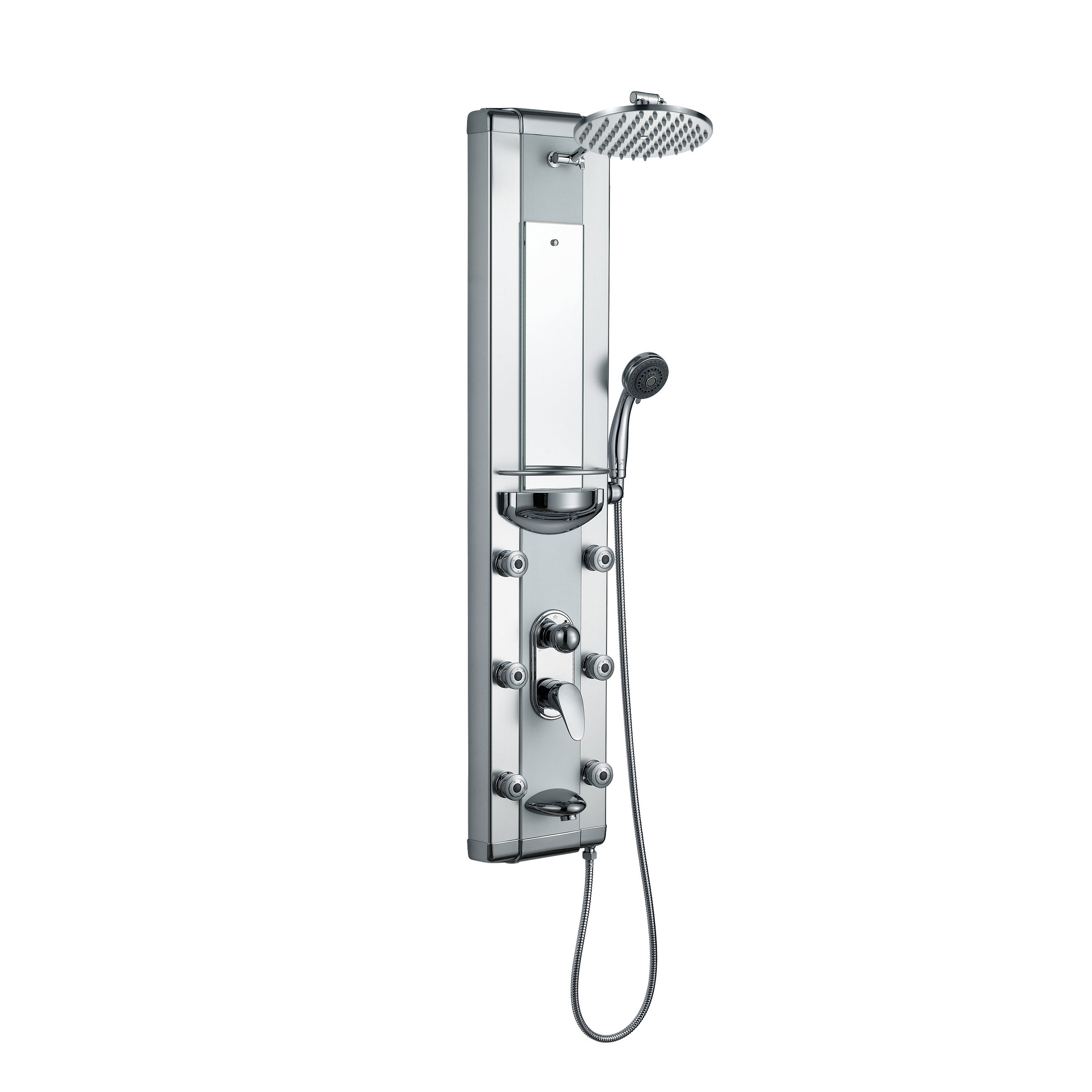 Blue Ocean Aluminum Shower Panel Tower With Rainfall Shower Head Mist Nozzles Handheld Shower Head And Tub Spout Silver