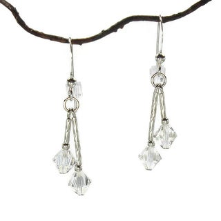 Jewelry by Dawn Double Twist Crystal Moonlight Sterling Silver Earrings