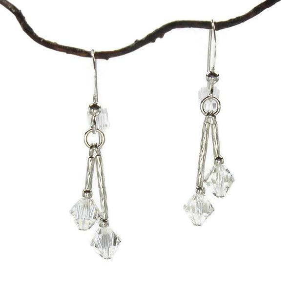 Jewelry by Dawn Double Twist Crystal Moonlight Sterling Silver Earrings