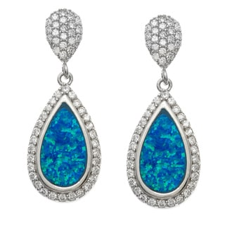 La Preciosa Sterling Silver Cubic Zirconia and Blue Opal Dangling Earrings