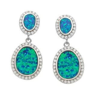 La Preciosa Sterling Silver CZ and Blue Opal Oval Earrings