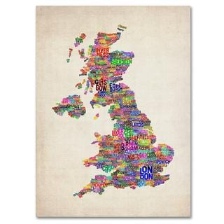Michael Tompsett 'UK Cities Text Map' Canvas Art