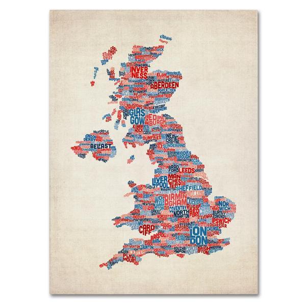 Michael Tompsett 'UK Cities Text Map 2' Canvas Art - Multi