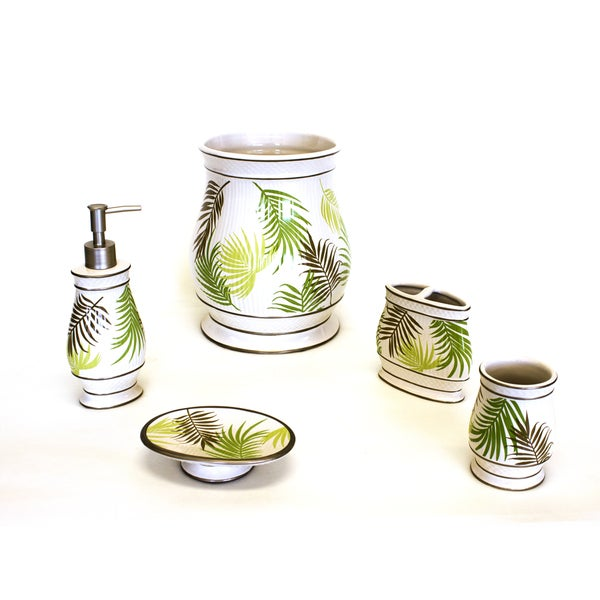 Sherry Kline Sago Palm Bath Accessory 5 Piece Set Free Shipping