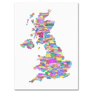 Michael Tompsett 'UK Cities Text Map 3' Canvas Art