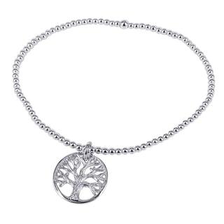 Silver Tree of Life Inspired Elastic Beaded Bracelet (Thailand)