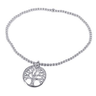 Handmade Sterling Silver Tree of Life Inspired Elastic Beaded Bracelet (Thailand)