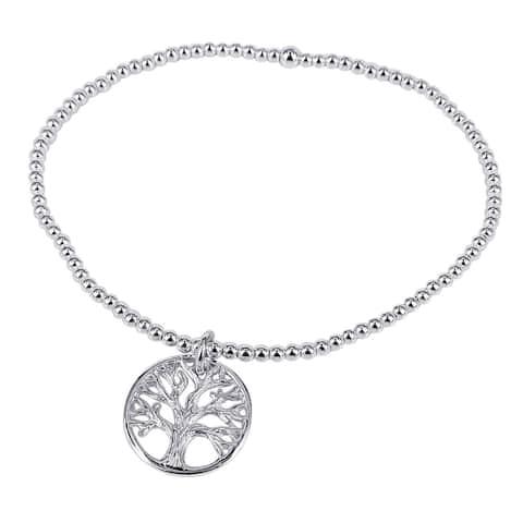 Handmade Sterling Silver Tree of Life Inspired Elastic Beaded Bracelet (Thailand)