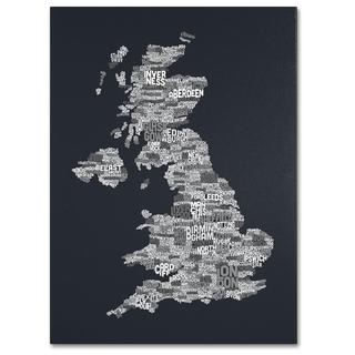 Michael Tompsett 'UK Cities Text Map 4' Canvas Art