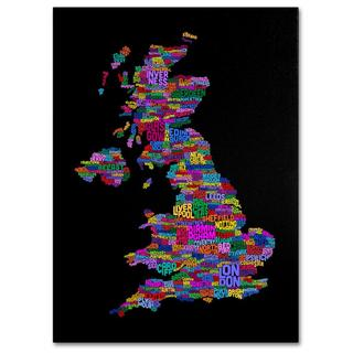 Michael Tompsett 'UK Cities Text Map 5' Canvas Art