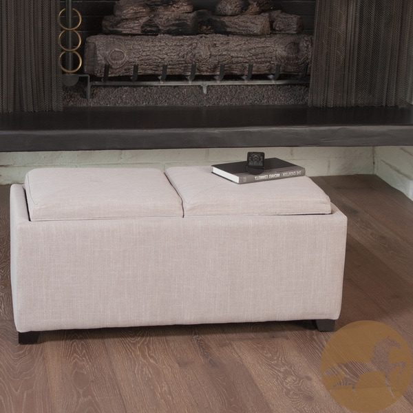 Maxwell Beige Fabric Tray Ottoman by Christopher Knight Home