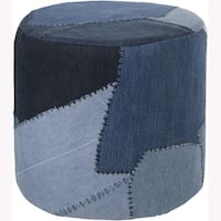 "Artist's Loom Handmade Denim Fabric Cylindrical Pouf (16""x16""x16"")"