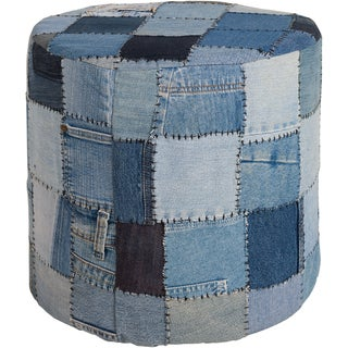 "Artist's Loom Handmade Denim Fabric Pouf (16""x16""x16"")"