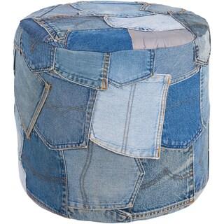 "Artist's Loom Handmade Cylindrical Blue Denim Fabric Pouf (16""x16""x16"")"