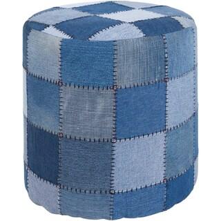 "Artist's Loom Handmade Cylindrical Denim Fabric Pouf (16""x16""x16"")"