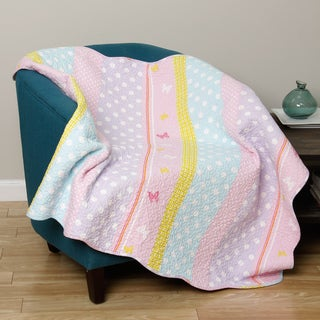 Greenland Home Fashions Polka Dot Stripe Quilted Throw
