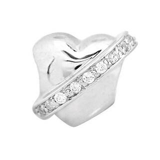 De Buman Sterling Silver Cubic Zirconia Heart Charm Bead