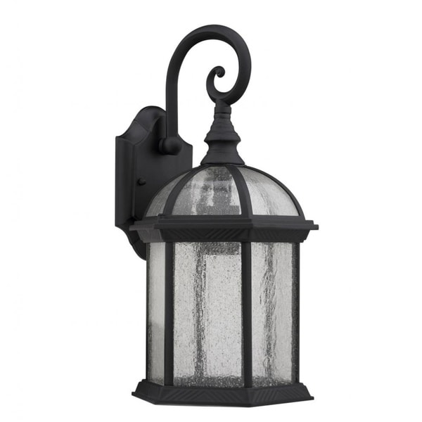 Transitional Black Clear Seeded Glass 1 light Outdoor
