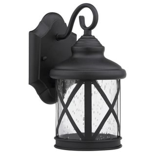 Black/Clear Seeded Glass 1-light Outdoor Wll Light