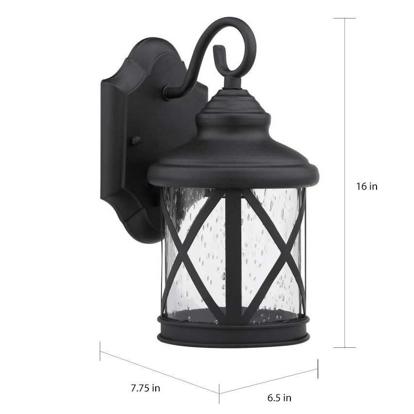 new style f31ec 1031e Black/Clear Seeded Glass 1-light Outdoor Wll Light