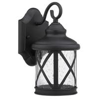 Transitional Black/ Clear Seeded Glass 1-light Outdoor Fixture